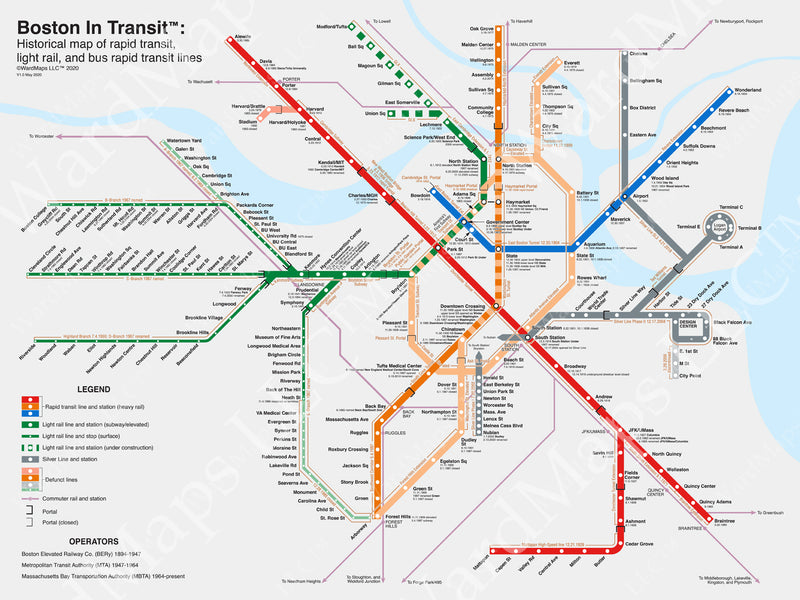 Historical Boston MBTA Transit Map