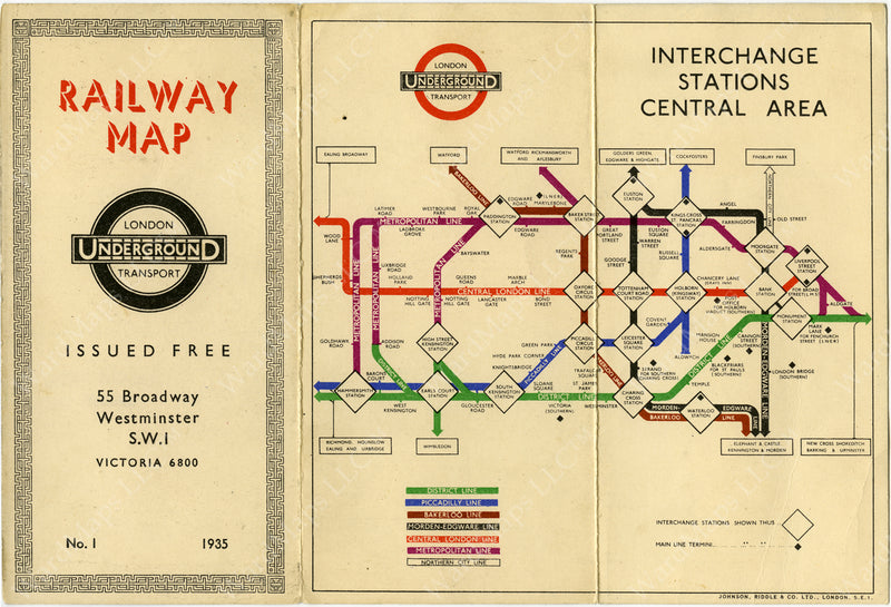 London Underground Railway Map No. 1 1935: Interchange Stations in Central Area