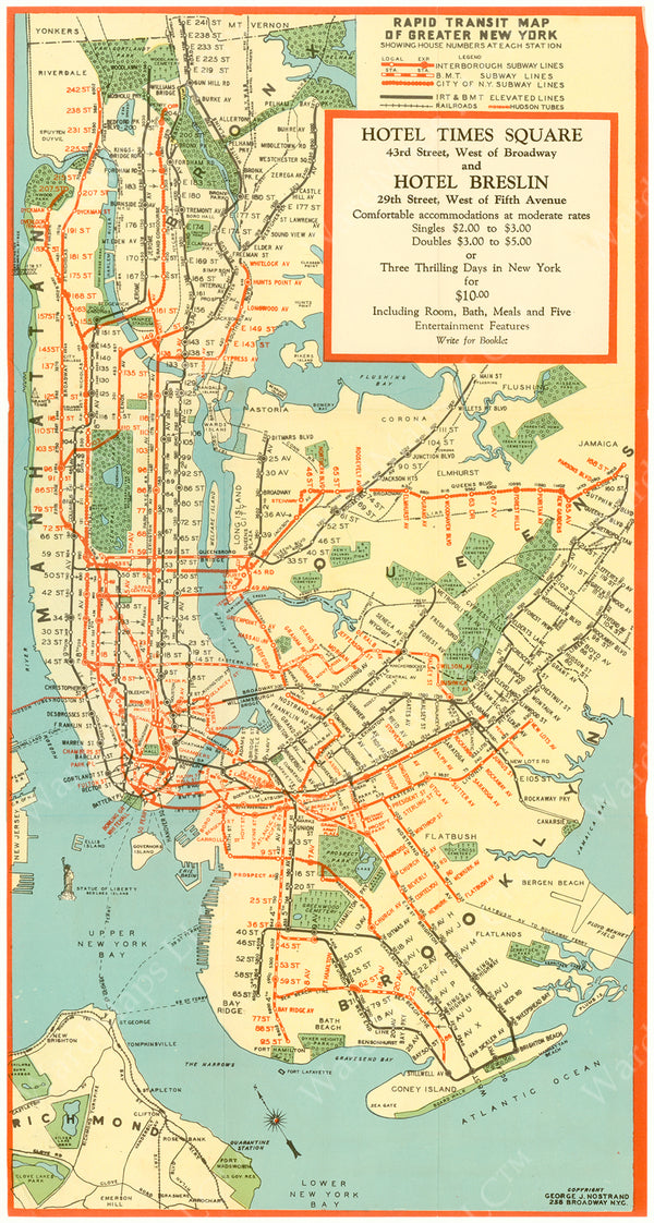 New York City Subway Map: Hotels Time Square and Breslin