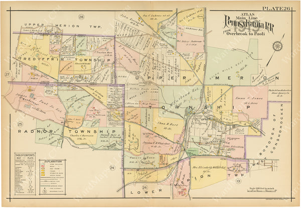 Main Line Properties Overbrook to Paoli, Pennsylvania 1920 Plate 026: Radnor, Tredyffrin, and Upper Merion Townships