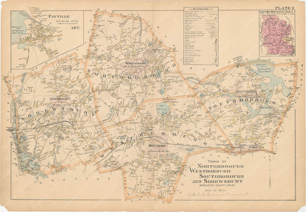Worcester County, Massachusetts 1898 Plate 003: Northborough, Shrewsbury, Southborough, and Westborough