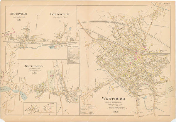 Worcester County, Massachusetts 1898 Plate 004: Southborough and Westborough