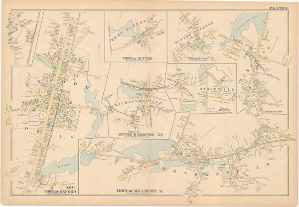 Worcester County, Massachusetts 1898 Plate 008: Auburn, Grafton, Millbury, Oxford, and Sutton