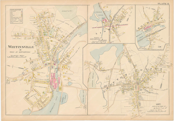 Worcester County, Massachusetts 1898 Plate 012: Grafton, Northbridge, and Uxbridge