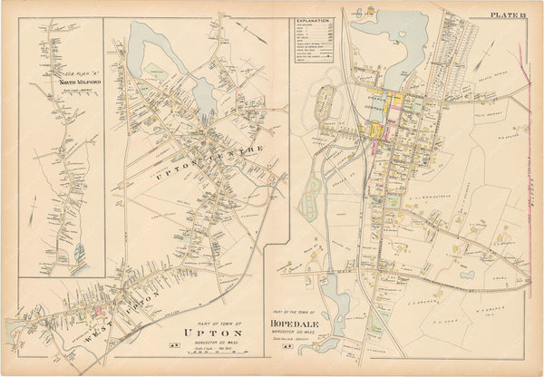 Worcester County, Massachusetts 1898 Plate 013: Hopedale, Milford, and Upton