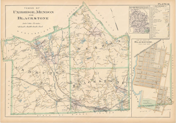 Worcester County, Massachusetts 1898 Plate 014: Blackstone, Mendon, and Uxbridge