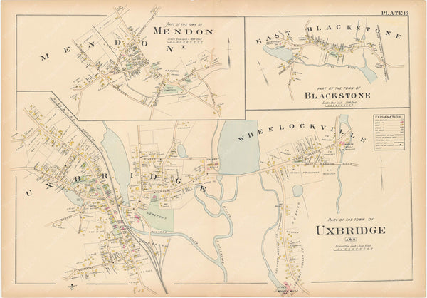Worcester County, Massachusetts 1898 Plate 015: Blackstone, Mendon, and Uxbridge