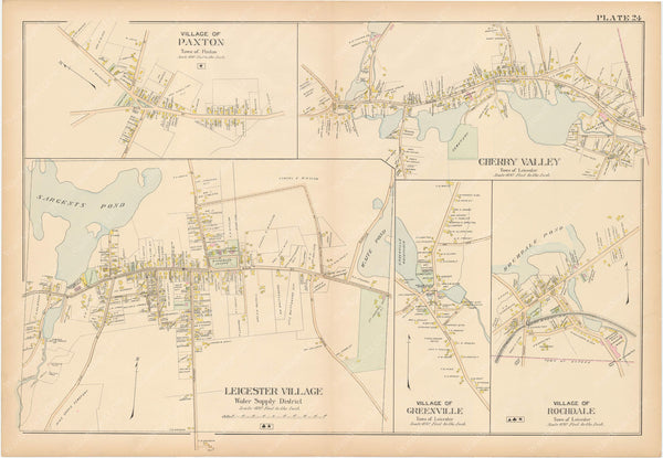 Worcester County, Massachusetts 1898 Plate 024: Leicester and Paxton