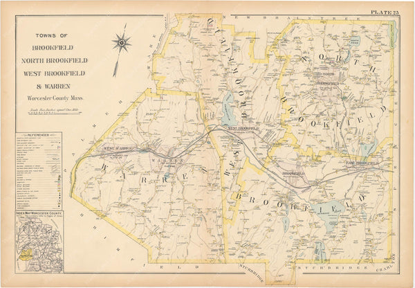 Worcester County, Massachusetts 1898 Plate 025: Brookfield, North Brookfield, West Brookfield, and Warren
