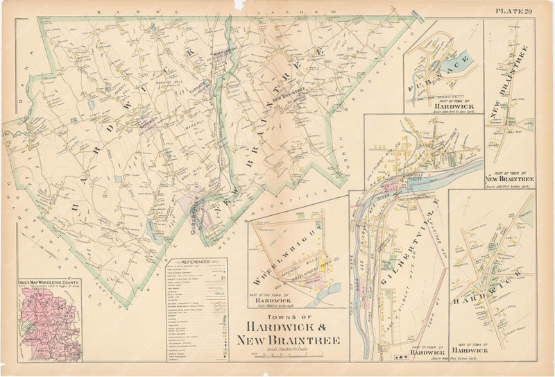 Worcester County, Massachusetts 1898 Plate 029: Hardwick and New Braintree
