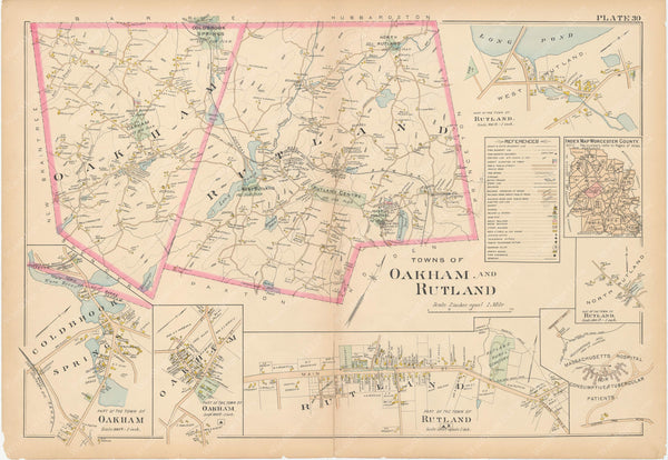 Worcester County, Massachusetts 1898 Plate 030: Oakham and Rutland