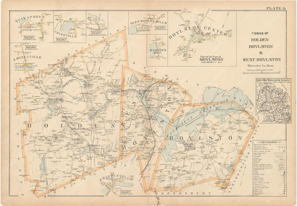 Worcester County, Massachusetts 1898 Plate 031: Boylston, Holden, and West Boylston