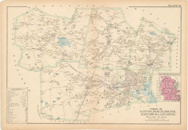 Worcester County, Massachusetts 1898 Plate 033: Clinton, Berlin, Bolton, Harvard, and Lancaster