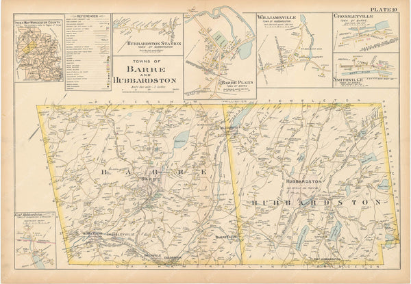 Worcester County, Massachusetts 1898 Plate 039: Barre and Hubbardston