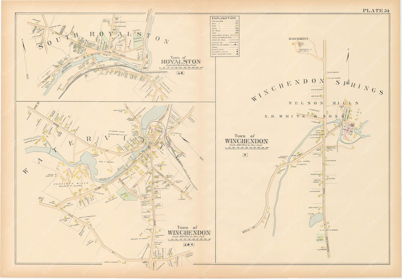 Worcester County, Massachusetts 1898 Plate 054: Royalston and Winchendon