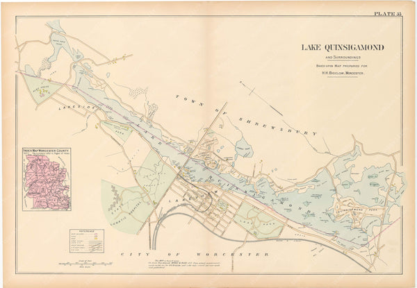 Worcester County, Massachusetts 1898 Plate 055: Lake Quinsigamond