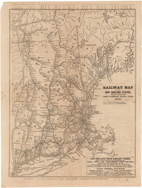 New England Railway Map for Snow's Pathfinder Railway Guide 1866