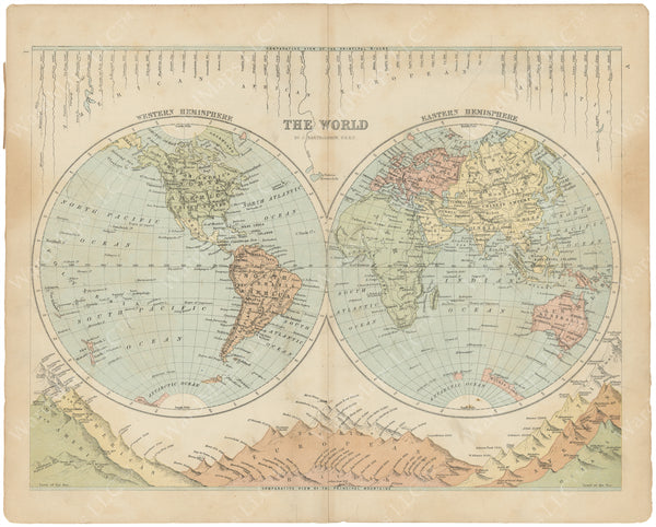 World Map 1875: Hemispheres with Rivers and Mountains