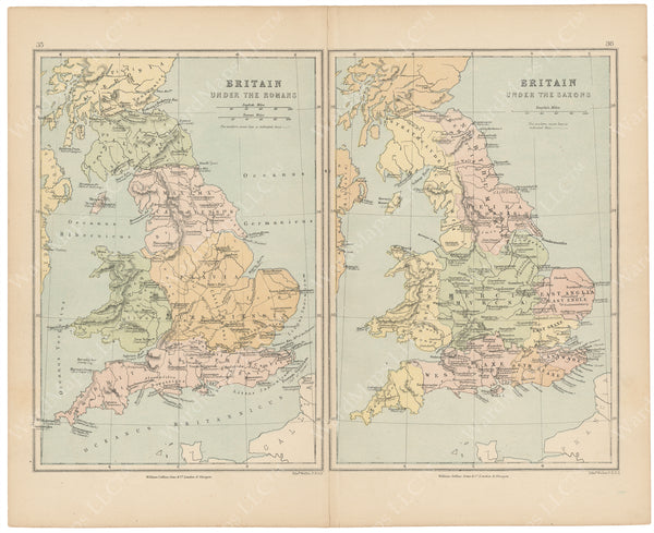 Classical Map 1875: Britain Under the Romans and Saxons