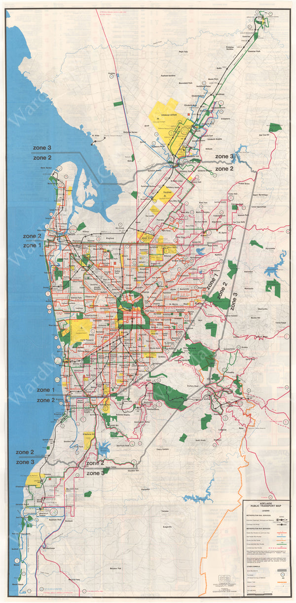 Adelaide (South Australia) Transit System Map 1981