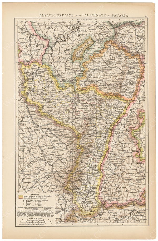 Alsace-Lorraine and Palatinate of Bavaria 1895