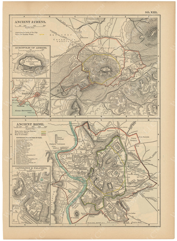 Classical Map 1914: Ancient Athens and Ancient Rome