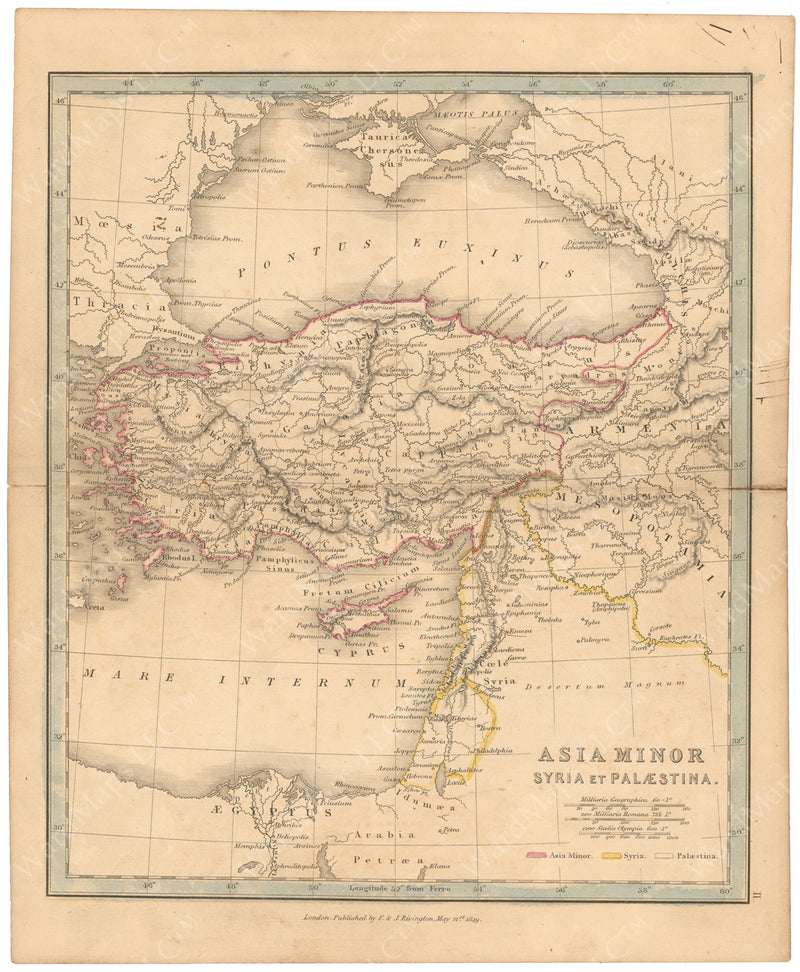 Classical Atlas 1849: Asia Minor, Syria, and Palestine