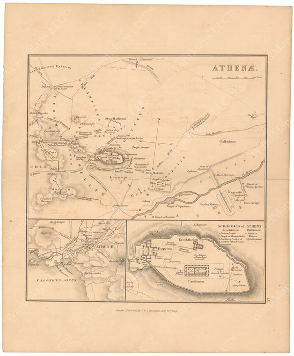 Classical Atlas 1849: Ancient Athens, Greece