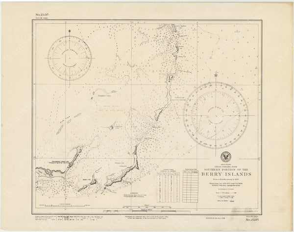 USNHO West Indies - Great Bahama Bank: Southern Portion of The Berry Islands 1949
