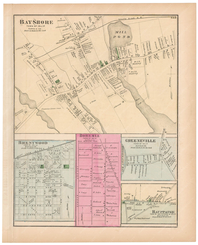 Islip: Bay Shore, Bohemia, Brentwood, Greenville, and Hauppauge, New York 1873