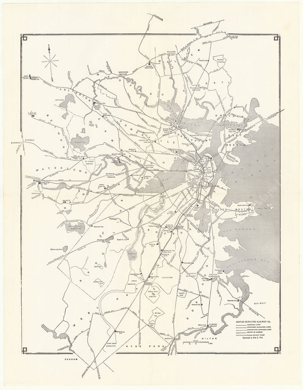 Boston Elevated Railway Co. (Massachusetts) System Map February 5, 1910