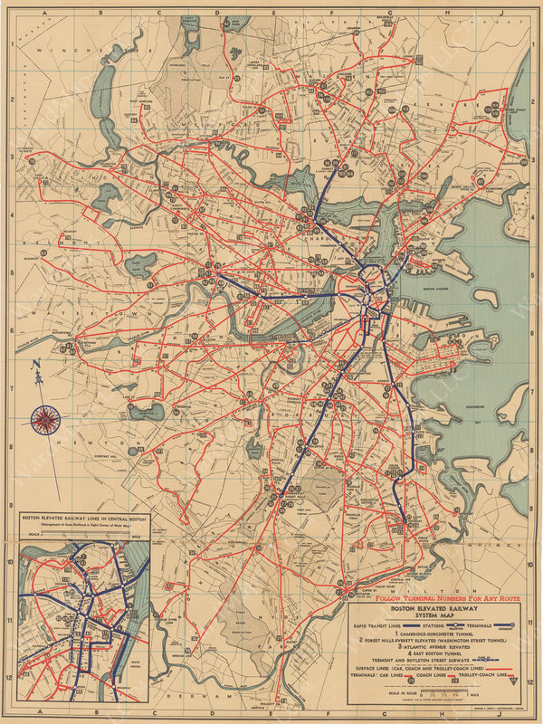 Boston Elevated Railway Co. (Massachusetts) System Route Map #1 1936