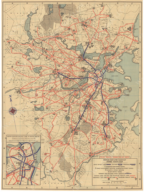 Boston Elevated Railway Co. (Massachusetts) System Route Map #2 1937
