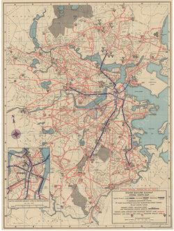 Boston Elevated Railway Co. (Massachusetts) System Route Map #7 1946