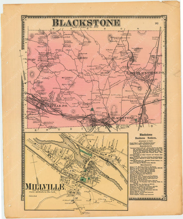Blackstone and Millville, Massachusetts 1870