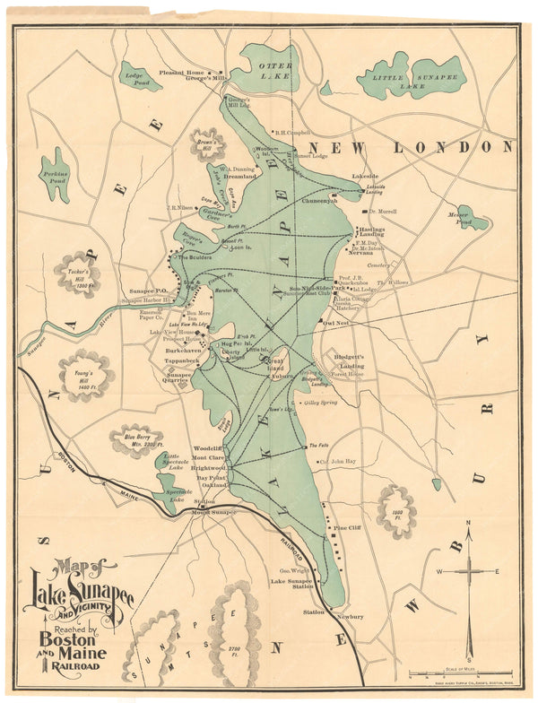 Lake Sunapee and Vicinity, New Hampshire 1901