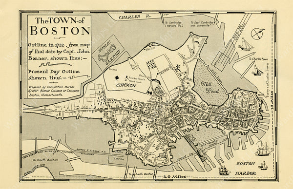 Boston in 1722 with Outline in 1928