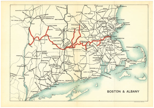 Boston & Albany Railroad (Massachusetts and New York) System Map 1923