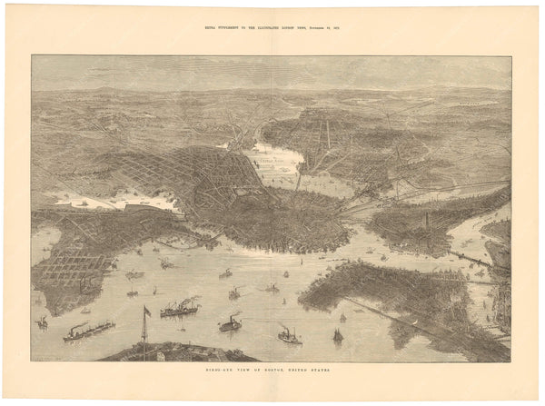 Boston, Massachusetts 1872 Bird's Eye View