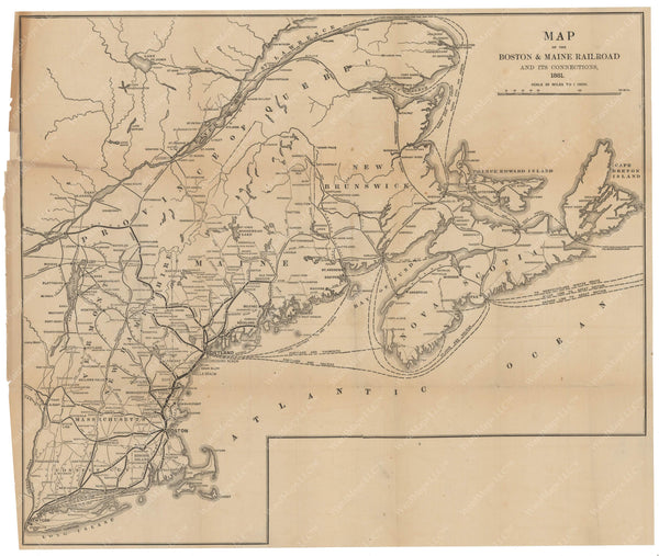 Boston & Maine Railroad System Map 1881