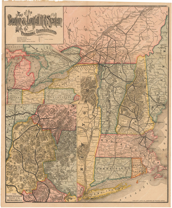 Boston & Lowell Railroad System Map 1886