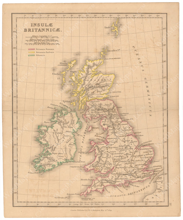 Classical Atlas 1849: Ancient British Isles