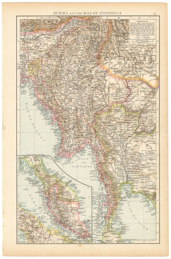 Burma (Myanmar) and Malay Peninsula 1895
