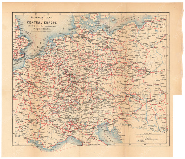 Railway Map of Central Europe 1868