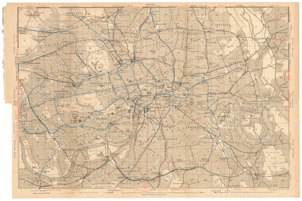 London, England 1930: Railroad and Transit Map