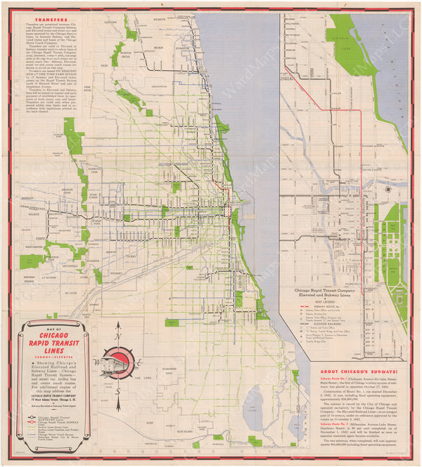Chicago Rapid Transit Co. (Illinois) System Map 1943