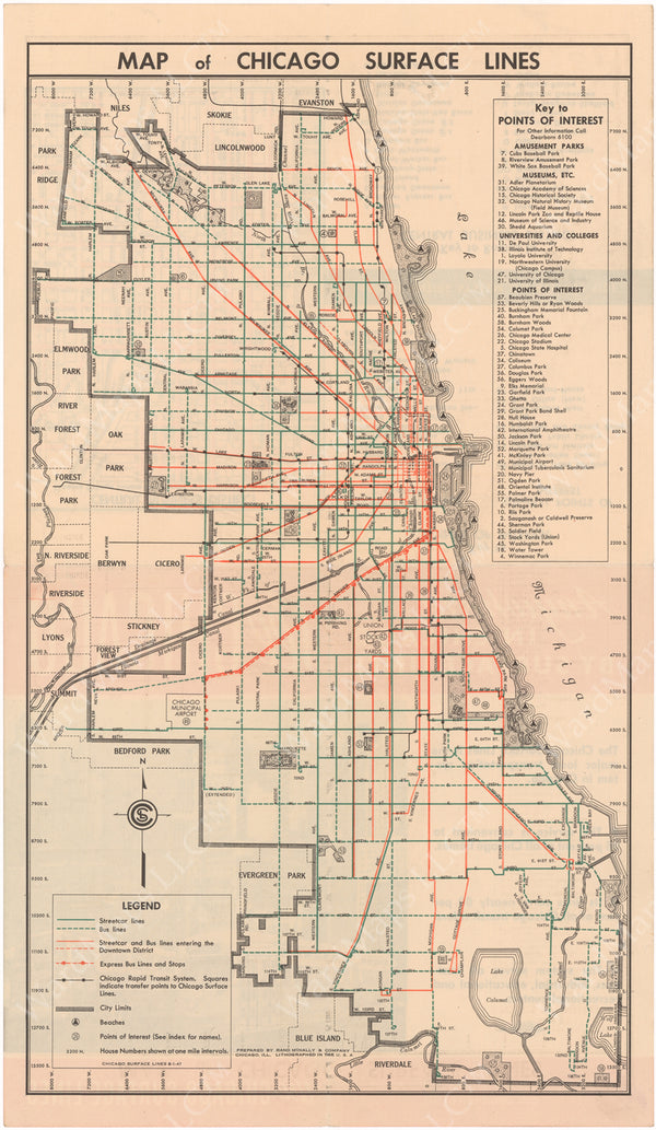 Chicago Surface Lines (Illinois) System Map 1947