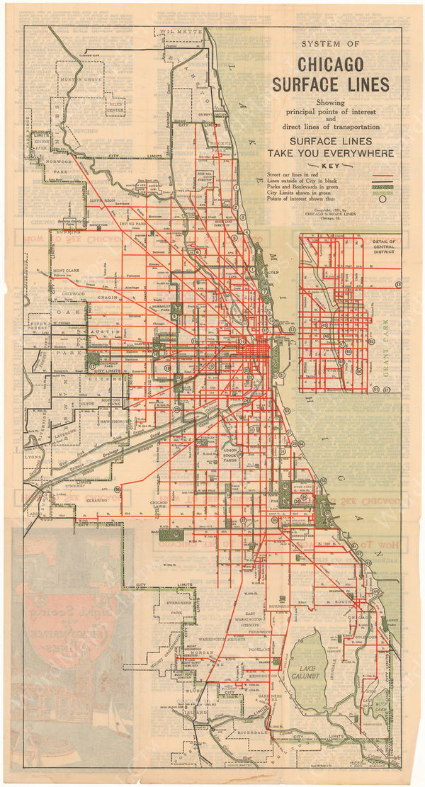 Chicago Surface Lines (Illinois) System Map 1921