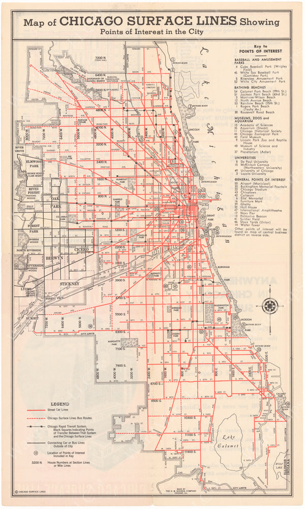 Chicago Surface Lines (Illinois) System Map