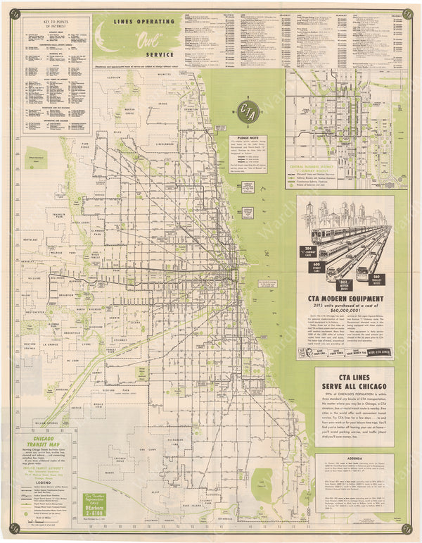 Chicago Transit Authority (Illinois) System Map 1951